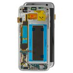 LCD compatible with Samsung G935 Galaxy S7 EDGE, (silver, with touchscreen, with front panel, Original (PRC), original glass)