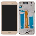 LCD compatible with Huawei Y6 II, (golden, with touchscreen, with frame, Original (PRC), CAM-L21)