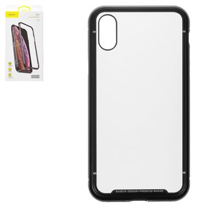 Case Baseus compatible with iPhone X, iPhone XS, (black, transparent, metalic, magnetic) #WIAPIPH58-CS01