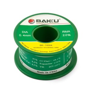 Solder Wire Baku BK-10005, Sn 97%,Ag 0.3%,Cu 0.7%, Flux 2% 0.4 mm, 50 g